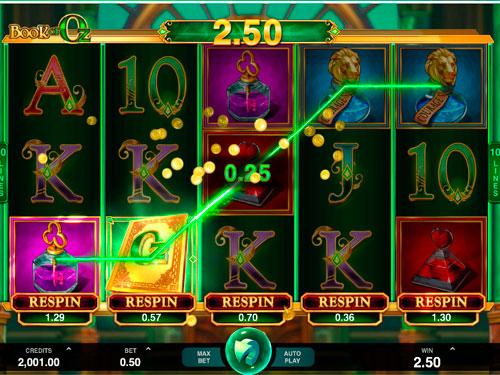 Игровое поле автомата Book of Oz на деньги с карты